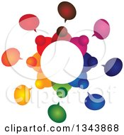 Clipart Of A Circle Of A Colorful Group Of People With Speech Balloons Royalty Free Vector Illustration