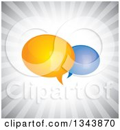 Clipart Of Yellow And Blue Speech Balloons Over Gray Rays Royalty Free Vector Illustration