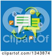 Clipart Of A Flat Design With Speech Balloons On Blue Royalty Free Vector Illustration