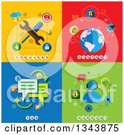 Poster, Art Print Of Flat Services Contact Faq And Support Designs