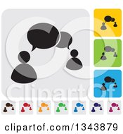 Clipart Of Rounded Corner Square People And Speech Balloon App Icon Design Elements Royalty Free Vector Illustration