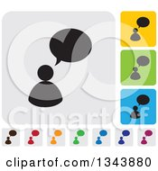 Clipart Of Rounded Corner Square People And Speech Balloon App Icon Design Elements 2 Royalty Free Vector Illustration