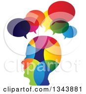 Clipart Of A Colorful Head In Profile With Speech Balloons Royalty Free Vector Illustration