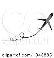 Clipart Of A Black Silhouetted Jet With Curly Trails Royalty Free Vector Illustration