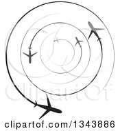 Clipart Of Circling Silhouetted Jets With Trails Royalty Free Vector Illustration