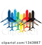Clipart Of Colorful Planes Or Jets Royalty Free Vector Illustration