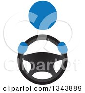Clipart Of A Blue Person Driving A Car Gripping A Steering Wheel Royalty Free Vector Illustration