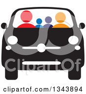 Clipart Of A Colorful Family In A Black And White Car Royalty Free Vector Illustration