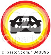 Clipart Of A Black And White Family In A Car Inside A Circle Royalty Free Vector Illustration