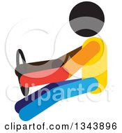 Clipart Of A Colorful Person Driving A Car Gripping A Steering Wheel Royalty Free Vector Illustration