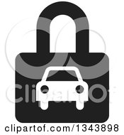 Clipart Of A White Car On A Black Padlock Royalty Free Vector Illustration