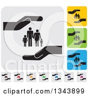 Clipart Of Rounded Corner Square Protective Hand And Family App Icon Design Elements Royalty Free Vector Illustration