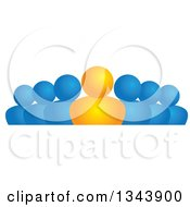 Clipart Of An Orange Leader And Blue Followers Royalty Free Vector Illustration