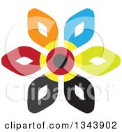 Clipart Of A Colorful Flower 5 Royalty Free Vector Illustration