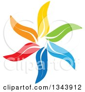 Clipart Of A Colorful Flower 6 Royalty Free Vector Illustration