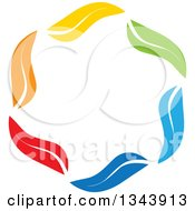 Clipart Of Circle Of Colorful Leaves Royalty Free Vector Illustration