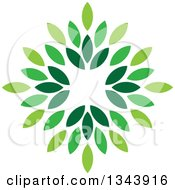 Clipart Of A Green Leaf Design 2 Royalty Free Vector Illustration