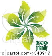 Clipart Of A Swirl Of Green Leaves With Eco Friendly Text Royalty Free Vector Illustration
