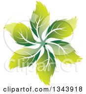 Clipart Of A Swirl Of Green Leaves Royalty Free Vector Illustration