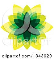 Clipart Of A Green And Yellow Leaf Design Royalty Free Vector Illustration