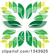 Clipart Of A Green Leaf Design 3 Royalty Free Vector Illustration