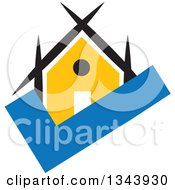 Clipart Of A Yellow House On A Blue Check Mark Royalty Free Vector Illustration