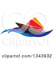 Clipart Of A Brown Red And Orange Sailboat On Blue Waves Royalty Free Vector Illustration