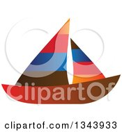 Clipart Of A Colorful Striped Sailboat Royalty Free Vector Illustration
