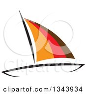 Clipart Of A Sailboat With Orange Red And Brown Sails Royalty Free Vector Illustration