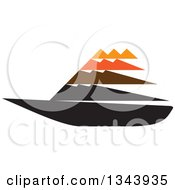 Clipart Of A Black Orange And Brown Sailboat Royalty Free Vector Illustration