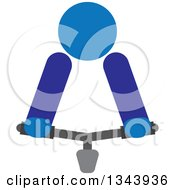 Clipart Of A Blue Person Riding A Bicycle With Only Visible Handlebars Royalty Free Vector Illustration