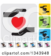 Clipart Of Rounded Corner Square Protective Hand And Heart App Icon Design Elements Royalty Free Vector Illustration