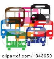 Clipart Of Colorful Buses Royalty Free Vector Illustration