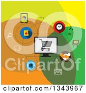 Clipart Of A Flat Design Of Internet Marketing And Icons Royalty Free Vector Illustration by ColorMagic