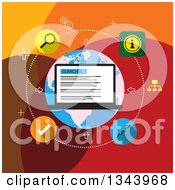 Clipart Of A Flat Design Of SEO Laptop And Icons Royalty Free Vector Illustration by ColorMagic