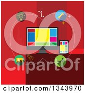 Clipart Of A Flat Design Of Computer Web Design And Icons On Red Royalty Free Vector Illustration by ColorMagic
