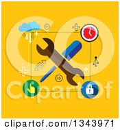 Clipart Of A Flat Design Of Tools And Setting Icons Over Yellow Royalty Free Vector Illustration by ColorMagic