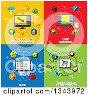 Poster, Art Print Of Application Development Web Design Seo And Internet Marketing Flat Designs