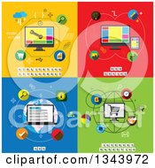 Clipart Of Application Development Web Design Seo And Internet Marketing Flat Designs Royalty Free Vector Illustration by ColorMagic