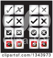 Clipart Of Square Check And X Mark App Icon Design Elements On Black Royalty Free Vector Illustration