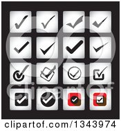 Clipart Of Square Check Mark App Icon Design Elements On Black Royalty Free Vector Illustration