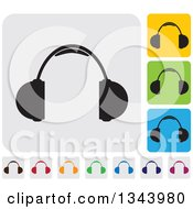 Clipart Of Rounded Corner Square Headphones App Icon Design Elements Royalty Free Vector Illustration by ColorMagic