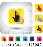 Clipart Of Rounded Corner Square Pointing Hand App Icon Design Elements Royalty Free Vector Illustration