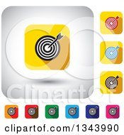 Clipart Of Rounded Corner Square Dart And Target App Icon Design Elements Royalty Free Vector Illustration