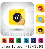 Clipart Of Rounded Corner Square Male Mars Symbol App Icon Design Elements Royalty Free Vector Illustration