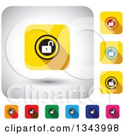 Clipart Of Rounded Corner Square Open Padlock App Icon Design Elements Royalty Free Vector Illustration