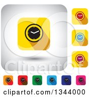 Clipart Of Rounded Corner Square Clock App Icon Design Elements Royalty Free Vector Illustration
