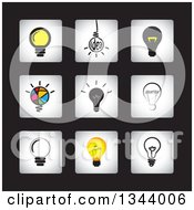 Clipart Of Square Light Bulb App Icon Design Elements On Black Royalty Free Vector Illustration