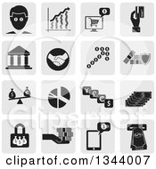 Poster, Art Print Of Grayscale Rounded Corner Square Finance App Icon Design Elements