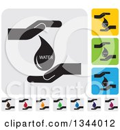 Clipart Of Rounded Corner Square Protective Hand And Water Drop App Icon Design Elements Royalty Free Vector Illustration